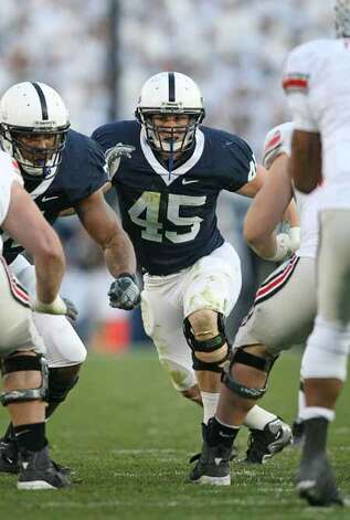 Linebacker Sean Lee #45 of the Penn State Nittany Lions rushes the line of scrimmage during a game against the Ohio State Buckeyes on November 7, 2009 at Beaver Stadium in State College, Pennsylvania. Ohio State won 24-7. (Photo by Hunter Martin/Getty Images) Photo: Hunter Martin, Getty Images / 2009 Hunter Martin