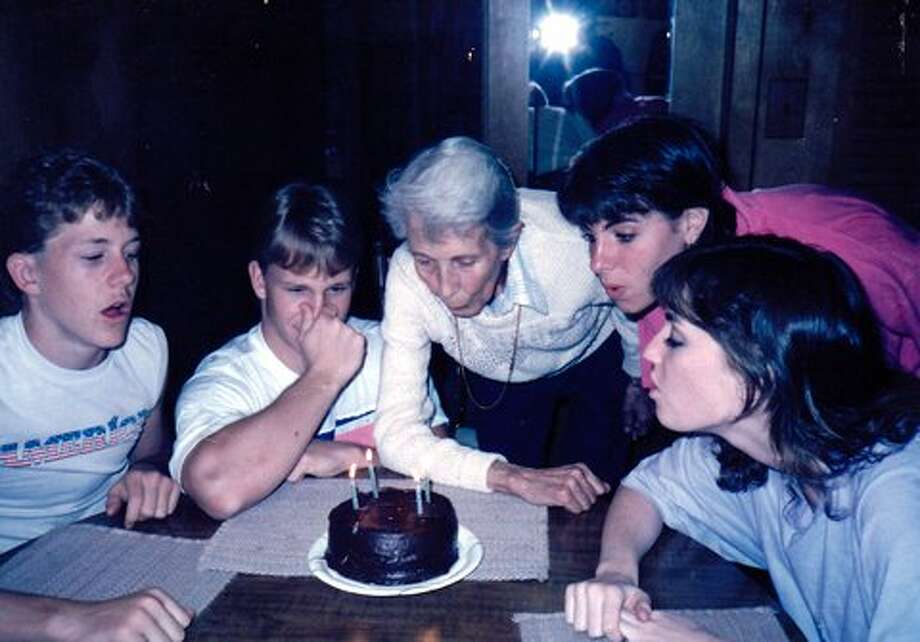 Now: GaGa (as she was named by the young man seen holding his nose) has aged quite a bit, and we realize, looking back, that it was really the beginning of her downhill journey.  Still enjoyed blowing out the candles.