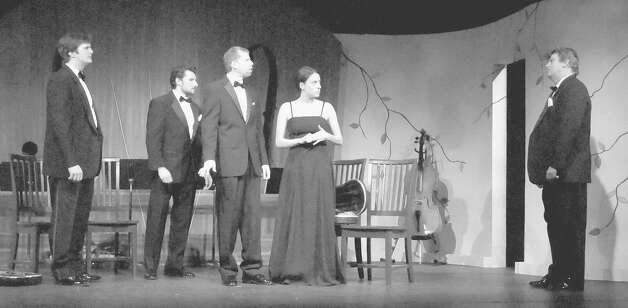 The cast of ?Opus? at Curtain Call Theatre includes, from left, Isaac Newberry, Paul Dederick, Kris Anderson, Beth Pietrangelo and Chris Foster. (PETER MAX/CURTAIN CALL THEATRE)
