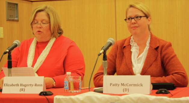 Board of Education candidates Elizabeth Hagerty-Ross and Patty McCormick. Oct. 18, 2012. Photo: Megan Davis