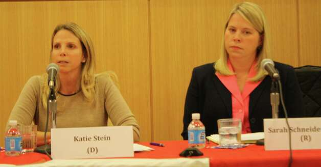 Board of Education candidates Katie Stein and Sarah Schneider-Zuro. Oct 18, 2012. Photo: Megan Davis