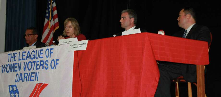 The State Representative candidates for District 141, Robert Werner (D) and Terrie Wood (R) and District 147,  Nicola Tarzia (R) and William Tong (D), participate in a debate hosted by the Darien League Women Voters in the Darien Town Hall auditorium. Oct. 23, 2012. Photo: Megan Davis