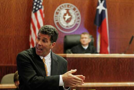 Prosecutor Steve Baldassano delivers opening statements to the jury in the Jessica Tata trial at the Harris County Criminal Courthouse on Wednesday, Oct. 24, 2012, in Houston. Photo: Mayra Beltran, Houston Chronicle / © 2012 Houston Chronicle