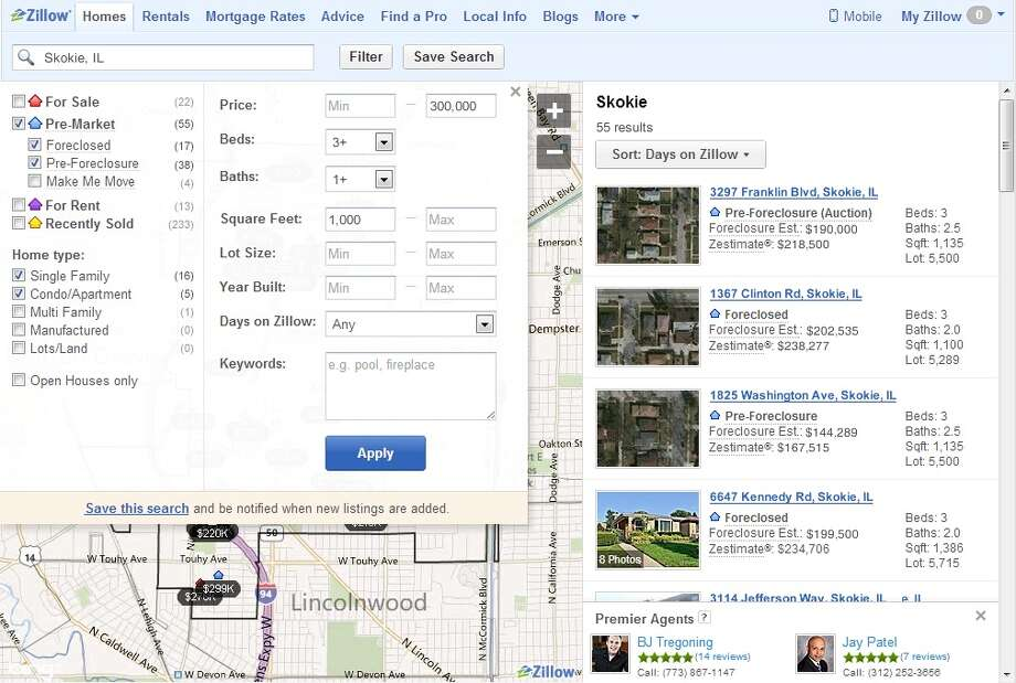 This screen shot shows Zillow's new foreclosure and pre-foreclosure listing feature. Photo: Zillow