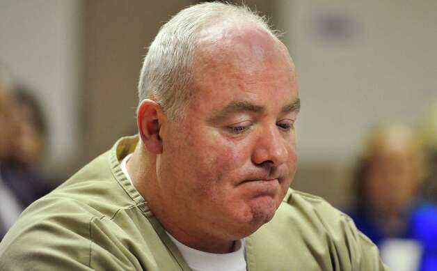 Michael Skakel reacts as parole is denied during a hearing at McDougall-Walker Correctional Institution in Suffield, Conn., Wednesday, Oct. 24, 2012. Parole officials denied Skakel's first bid for parole since he was convicted a decade ago of killing his neighbor in 1975. Skakel is serving 20 years to life for fatally beating Martha Moxley with a golf club in Greenwich when they were 15-year-old neighbors. Photo: Jessica Hill, Jessica Hill/Associated Press / Greenwich Time contributed Associated Press