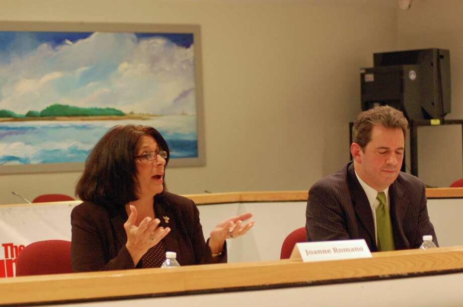 Joanne Romano, the Republican challenger in Norwalk's 137th District, talks about issues during a forum with incumbent Chris Perone at City Hall Monday night. Photo: Nicole Rivard
