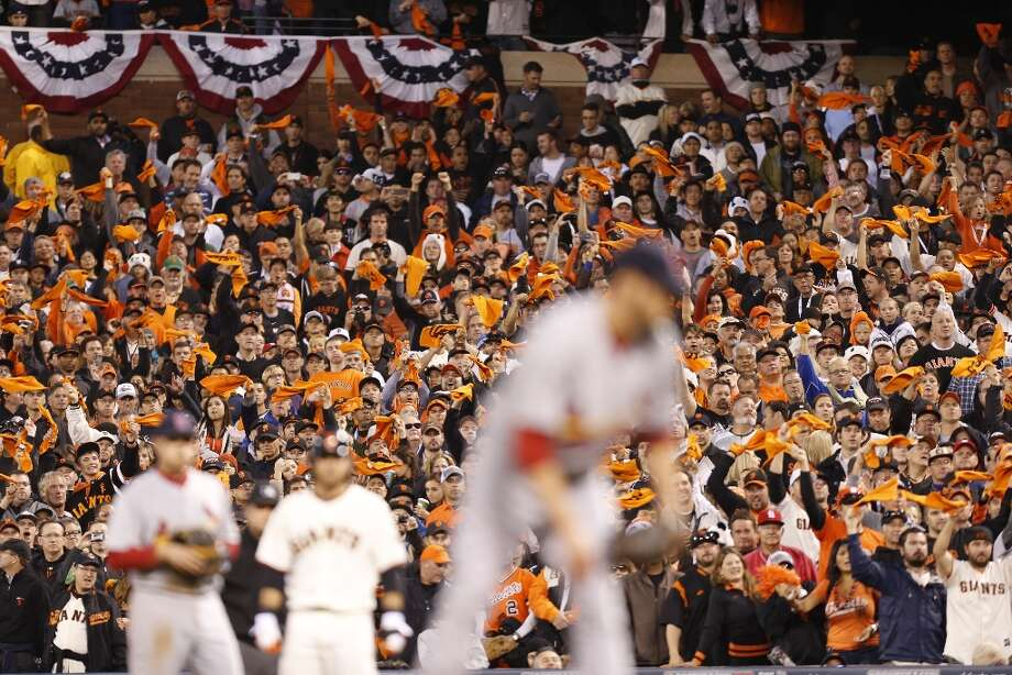 Giants fans show their enthusiasm during game 7 of the NLCS at AT&T Park on Monday, Oct. 22, 2012 in San Francisco, Calif. Photo: Michael Macor, The Chronicle / ONLINE_YES
