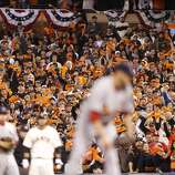 Giants fans show their enthusiasm during game 7 of the NLCS at AT&T Park on Monday, Oct. 22, 2012 in San Francisco, Calif.