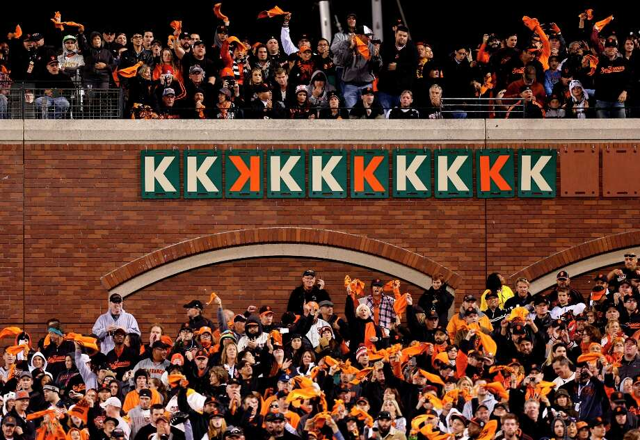 Giants' pitchers collected ten strike outs, nine by starter Ryan Vogelsong on his own, as the San Francisco Giants beat the St. Louis Cardinals 6-1 in game six of the National League Championship Series, on Sunday Oct. 21, 2012 at AT&T Park, in  San Francisco, Calif. Photo: Michael Macor, The Chronicle / ONLINE_YES