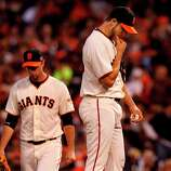 Madison Bumgarner (right) stood on the mound after giving up a home run to David Freese. The San Francisco Giants lost 6-4 to the St. Louis Cardinals in the first game of the league championship series Sunday Octboer 14, 2012 at AT&T park.