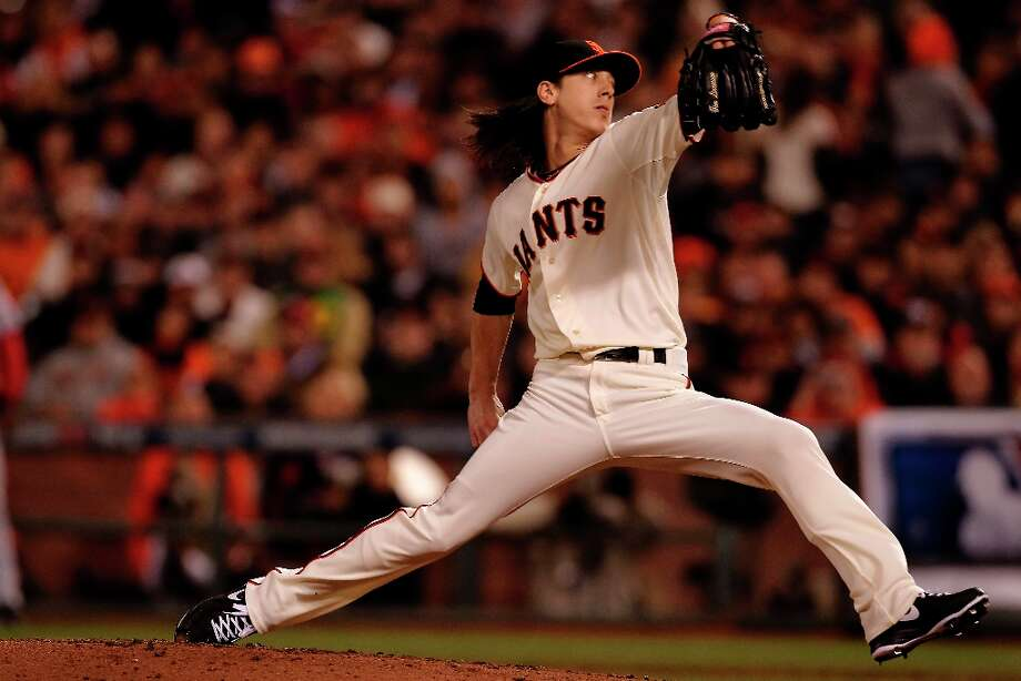 Giants Tim Lincecum came in to pitch in the sixth inning,as the San Francisco Giants take on the Cincinnati Reds in game two of the National League Divisional Series at AT&T Park  San Francisco, Calif., on Sunday October 7, 2012. Photo: Michael Macor, The Chronicle / ONLINE_YES