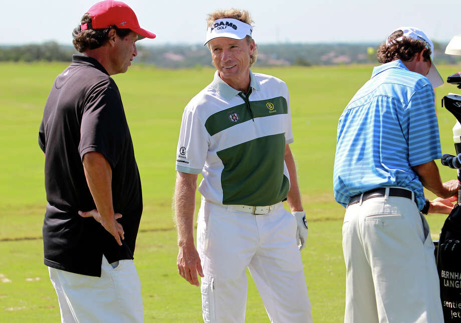 Bernhard Langer (center), who could win another Charles Schwab Cup title this season, hasn't finished better than seventh at the AT&T Championship. Photo: Tom Reel, San Antonio Express-News / San Antonio Express-News