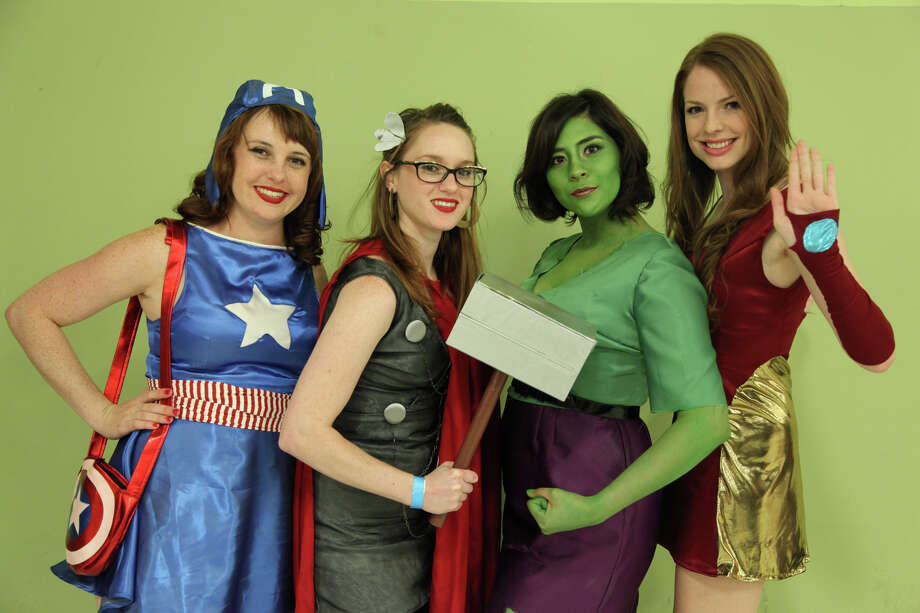 "Left to right: Crissy Baker, Kathy Baker, Amanda Guerra Deibel & Sofi Leggett of Nerd Alert Designs show off their Avengers outfits at Texas Comicon 2012. The characters from ""The Avengers"" summer film are popular for Halloween. Photo: For The Express-News"