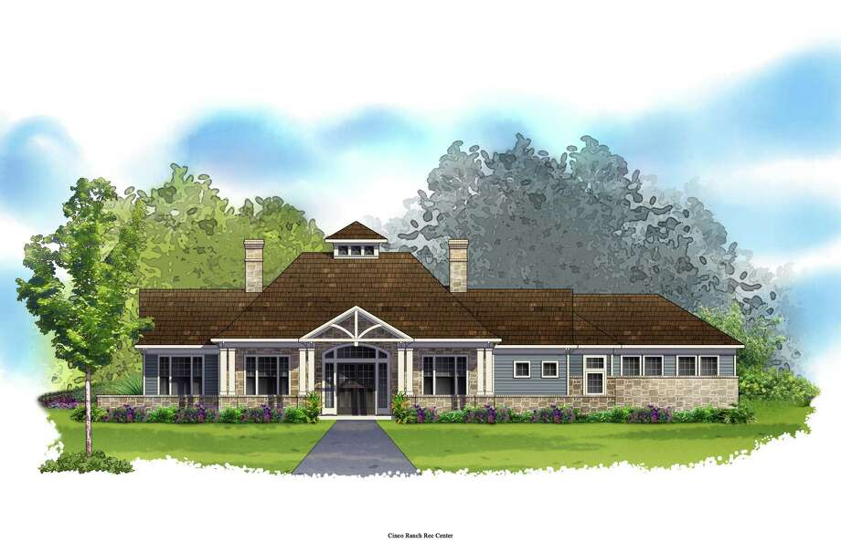 This is a rendering of the clubhouse amenity under construction at Ashfield Gardens in Cinco Ranch, where four decorated patio home models open this weekend.