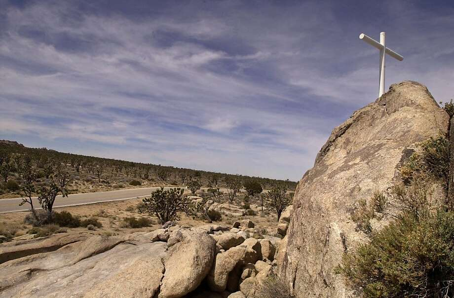 FILE - This 2002 photo shows the Mojave Cross in the Mojave National Preserve.  Authorities say the 7-foot-tall cross  that sparked a U.S. Supreme Court dispute was stolen around May 9, 2010. Photo: Carlos Puma, AP