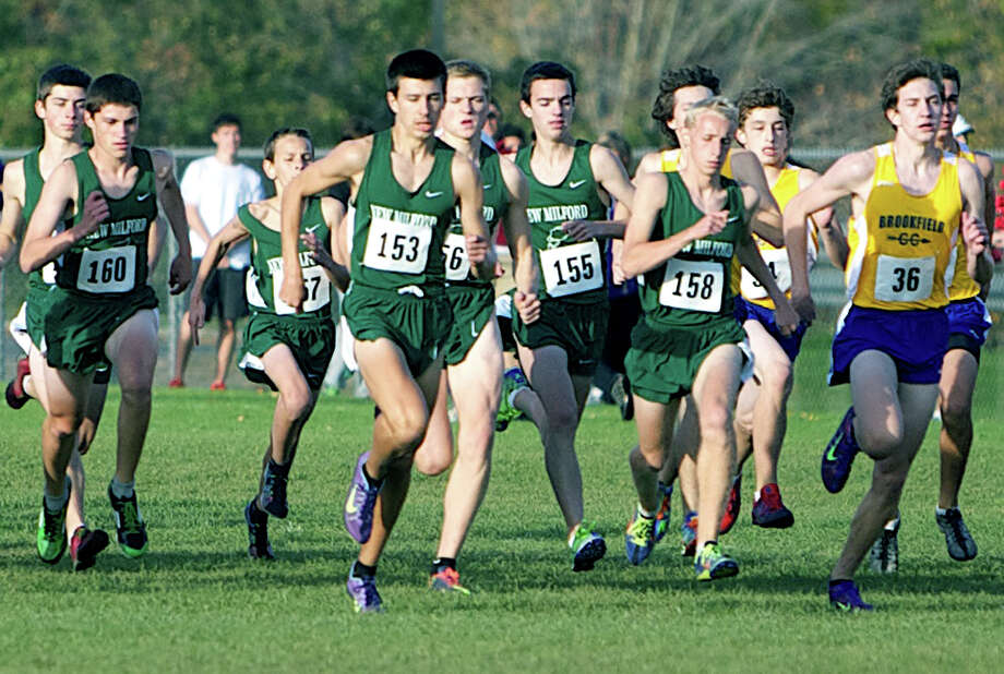 Kicking off their bid for the South-West Conference title in Bethel last week are New Milford High School boys' cross country's Ryan Clarke (153) and John Hansell (158) in front and, right behind them, from left to right, Hugh Sichell (16), with Jay Humphreys right behind him, Greg Hansell (157),  Zach Guptill (156) and  Adam Dengler (155). Oct. 18, 2012  Courtesy of Jim Carmellini Photo: Contributed Photo