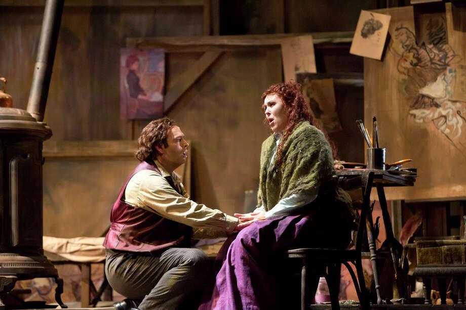 Dimitri Pittas (Rodolfo) comforts Katie Van Kooten (Mimi) in Act IV of Houston Grand Opera?s production of Puccini?s La bohème opening October 19, 2012.  HGO La Boheme Photo: Felix Sanchez