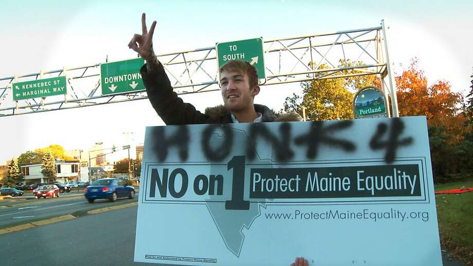 Supporter of the No on 1 campaign urges Maine residents to vote to allow same-sex marriage. Photo: Fly On The Wall Productions