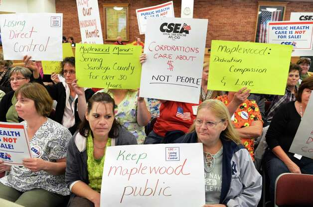 CSEA and Saratoga County boosters of Maplewood Manor nursing home listen as the Saratoga County Board of Supervisors Public Health Committee Special Meeting discusses the future of the nursing home in Ballston Spa Wednesday Oct. 24, 2012.  (John Carl D'Annibale / Times Union) Photo: John Carl D'Annibale / 00019812A