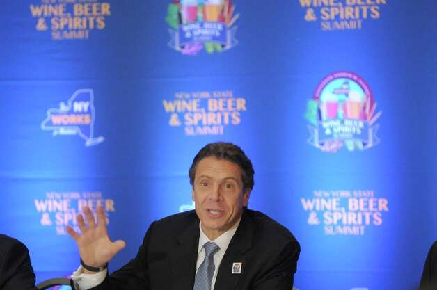 Governor Andrew Cuomo addresses those gathered at the  first Wine, Beer and Spirits Summit held at The Egg on Wednesday, Oct. 24, 2012 in Albany, NY.  The governor held the summit to discuss state policies that are or could be beneficial to the industry.     (Paul Buckowski / Times Union) Photo: Paul Buckowski