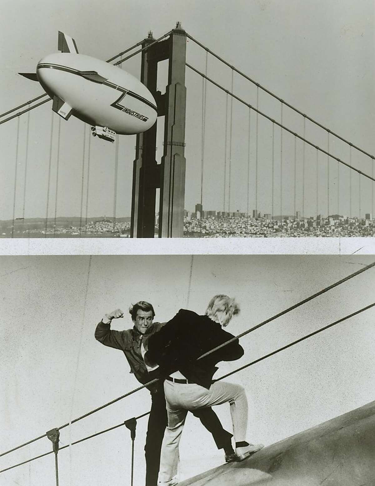 bond09.JPG 1985 - Photo 1: Zorin's airship approaches the Golden Gate Bridge in the James Bond film