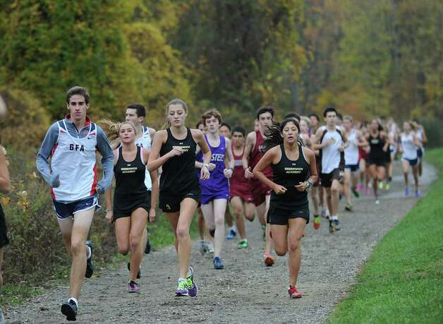 High school cross country meet at Brunswick School in Greenwich, Wednesday, Oct. 24, 2012. Photo: Bob Luckey / Greenwich Time