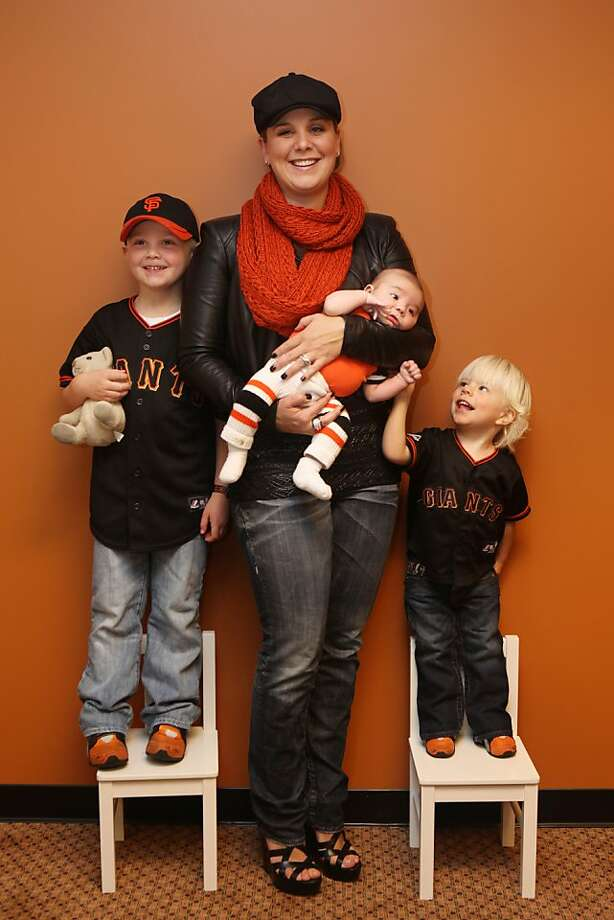 Larisa Affeldt with Walker, 5; Kolt, 8 weeks; and Logan, 2. Photo: Pete Kiehart, The Chronicle