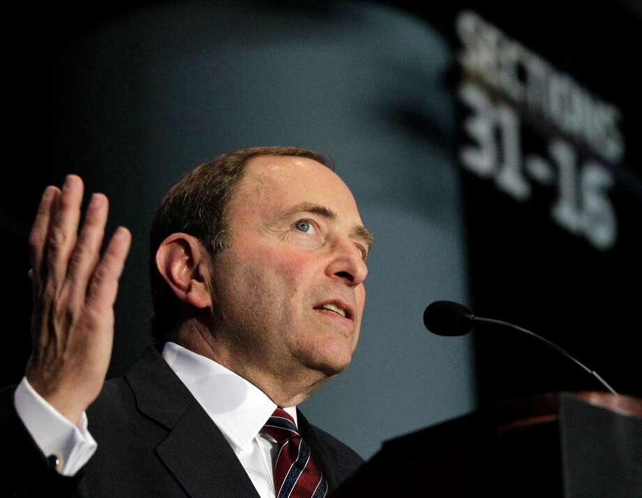 National Hockey League Commissioner Gary Bettman speaks during a press conference, Wednesday, Oct. 24, 2012 in New York, announcing that the Islanders hockey club will move from Nassau Veterans Memorial Coliseum in Uniondale, N.Y., and play at Brooklyn's Barclays Center starting in 2015. (AP Photo/Kathy Willens) Photo: Kathy Willens