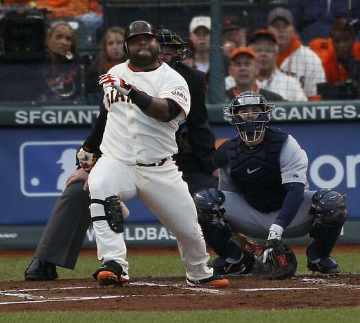 Giants' 3rd baseman Pablo Sandoval watches his 1st inning home run during the World Series game 1 at AT&T Park in San Francisco, Calif., on Wednesday, Oct. 24, 2012. Photo: Carlos Avila Gonzalez, The Chronicle