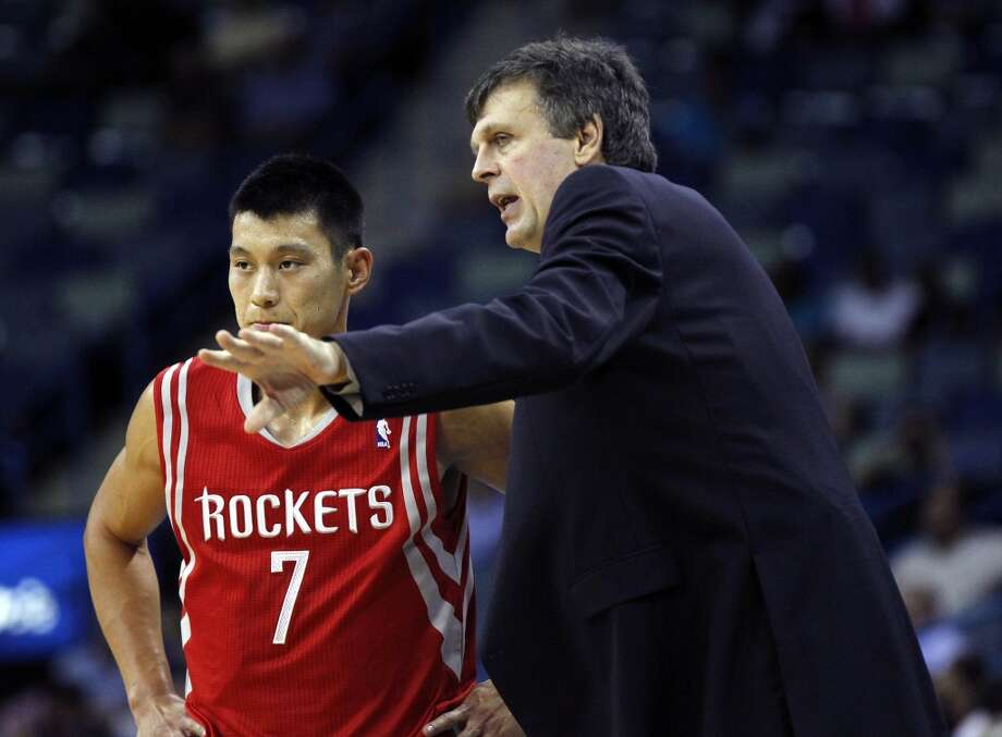 Houston Rockets head coach Kevin McHale, right, talks to point guard Jeremy Lin (7) in the first half of of a preseason NBA basketball game against the New Orleans Honets in New Orleans, Wednesday, Oct. 24, 2012. (AP Photo/Gerald Herbert) (Associated Press)