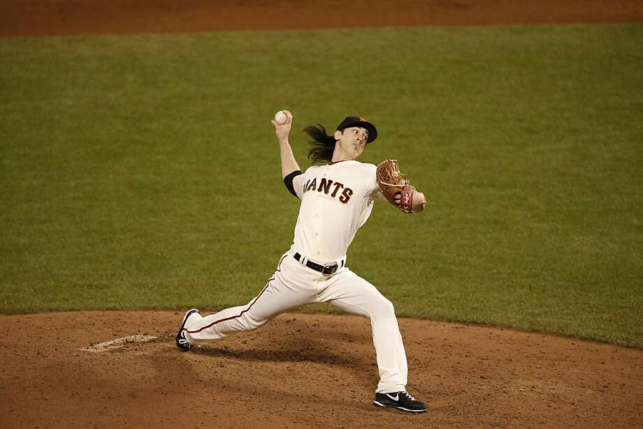 Giants' pitcher Tim Lincecum pitches in the 6th inning during game 1 of the World Series at AT&T Park on Wednesday, Oct. 24, 2012 in San Francisco, Calif. Photo: Beck Diefenbach, Special To The Chronicle
