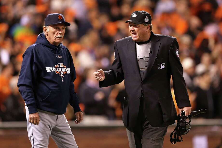 SAN FRANCISCO, CA - OCTOBER 24:  Home plate umpire Gerry Davis #12 talks with Manager Jim Leyland #10 of the Detroit Tigers during Game One between the San Francisco Giants and the Detroit Tigers in the Major League Baseball World Series at AT&T Park on October 24, 2012 in San Francisco, California. Photo: Christian Petersen, Getty Images / Getty Images North America