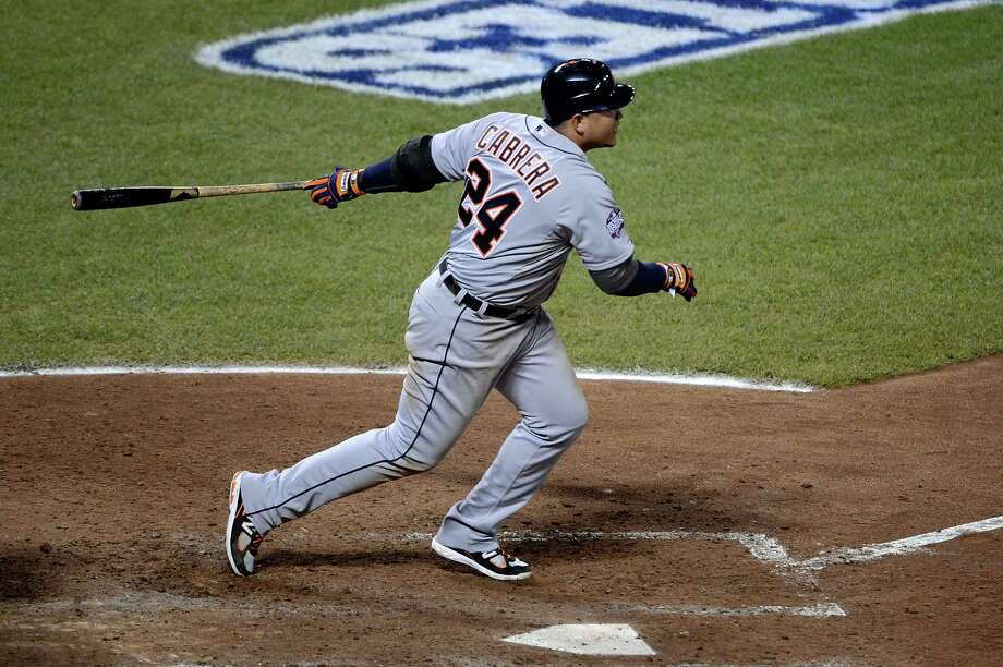 SAN FRANCISCO, CA - OCTOBER 24:  Miguel Cabrera #24 of the Detroit Tigers hits an RBI single to center field against Barry Zito #75 of the San Francisco Giants in the sixth inning during Game One of the Major League Baseball World Series at AT&T Park on October 24, 2012 in San Francisco, California. Photo: Thearon W. Henderson, Getty Images / Getty Images North America