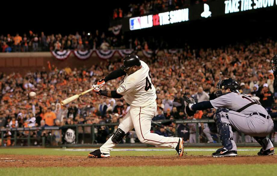 SAN FRANCISCO, CA - OCTOBER 24:  Pablo Sandoval #48 of the San Francisco Giants hits a single to center field against Al Alburquerque #62 of the Detroit Tigers in the seventh inning during Game One of the Major League Baseball World Series at AT&T Park on October 24, 2012 in San Francisco, California. Photo: Doug Pensinger, Getty Images / Getty Images North America