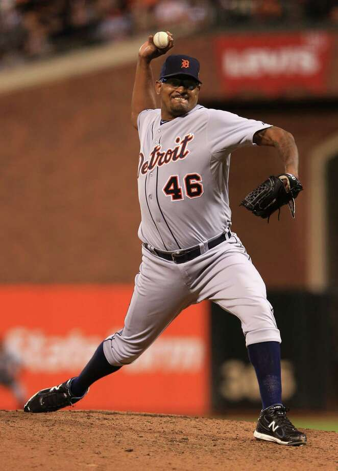 SAN FRANCISCO, CA - OCTOBER 24:  Jose Valverde #46 of the Detroit Tigers throws a pitch against the San Francisco Giants in the seventh inning during Game One of the Major League Baseball World Series at AT&T Park on October 24, 2012 in San Francisco, California. Photo: Doug Pensinger, Getty Images / Getty Images North America