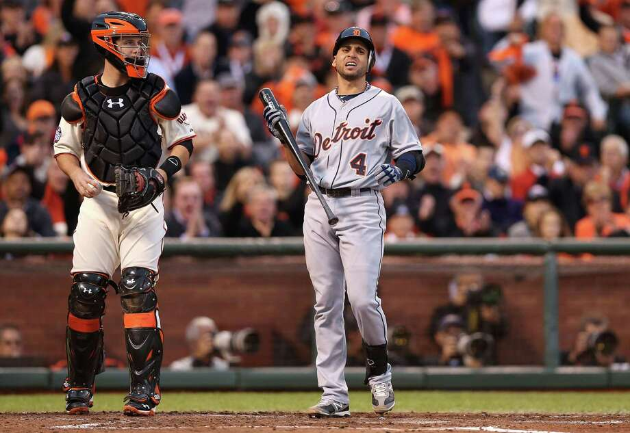 SAN FRANCISCO, CA - OCTOBER 24:  Omar Infante #4 of the Detroit Tigers reacts after striking out in the fourth inning against the San Francisco Giants during Game One of the Major League Baseball World Series at AT&T Park on October 24, 2012 in San Francisco, California. Photo: Christian Petersen, Getty Images / Getty Images North America