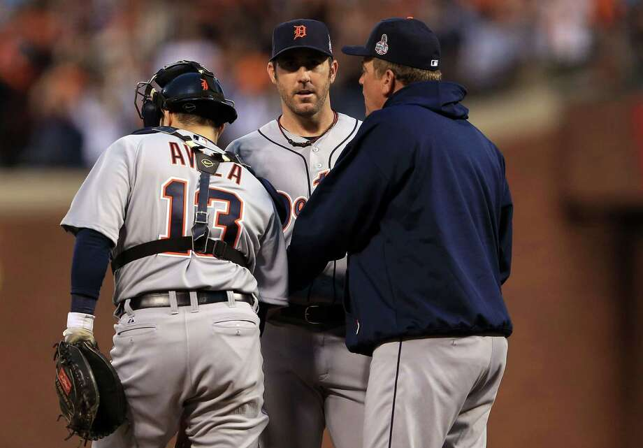 SAN FRANCISCO, CA - OCTOBER 24:  (L-R) Alex Avila #13, Justin Verlander #35 and pitching coach Jeff Jones of the Detroit Tigers talk on the mound against the San Francisco Giants during Game One of the Major League Baseball World Series at AT&T Park on October 24, 2012 in San Francisco, California. Photo: Doug Pensinger, Getty Images / Getty Images North America