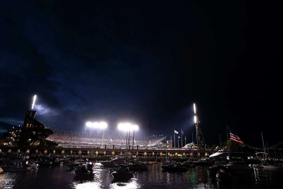 SAN FRANCISCO, CA - OCTOBER 24:  A view of the stadium from McCovey Cove during Game One between the San Francisco Giants and the Detroit Tigers in the Major League Baseball World Series at AT&T Park on October 24, 2012 in San Francisco, California. Photo: Ezra Shaw, Getty Images / Getty Images North America