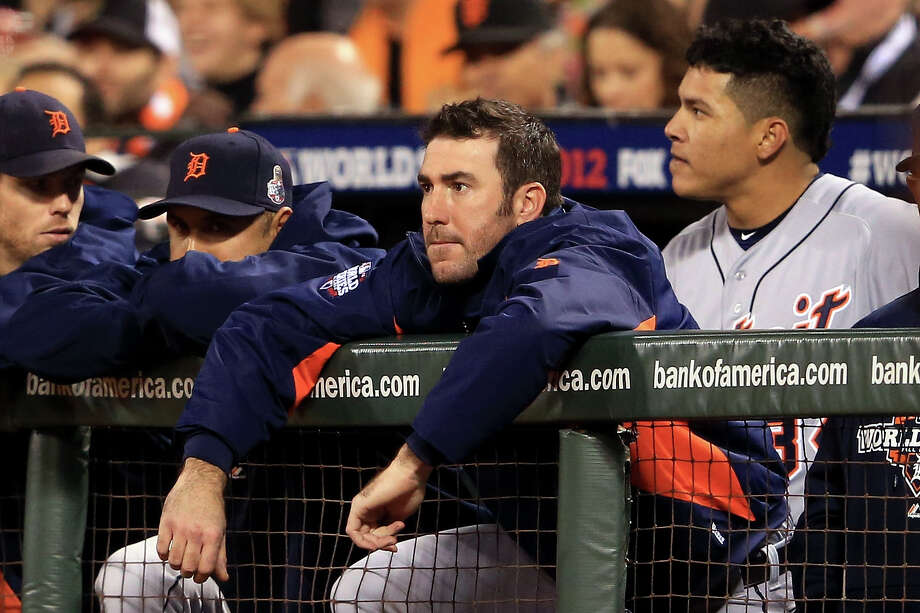 SAN FRANCISCO, CA - OCTOBER 24:  Justin Verlander #35 of the Detroit Tigers watches from the dugout as the Tigers take on the San Francisco Giants during Game One of the Major League Baseball World Series at AT&T Park on October 24, 2012 in San Francisco, California. Photo: Doug Pensinger, Getty Images / Getty Images North America