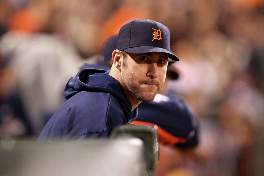 SAN FRANCISCO, CA - OCTOBER 24:  Justin Verlander #35 of the Detroit Tigers watches from the dugout as the Tigers take on the San Francisco Giants during Game One of the Major League Baseball World Series at AT&T Park on October 24, 2012 in San Francisco, California. Photo: Christian Petersen, Getty Images / Getty Images North America
