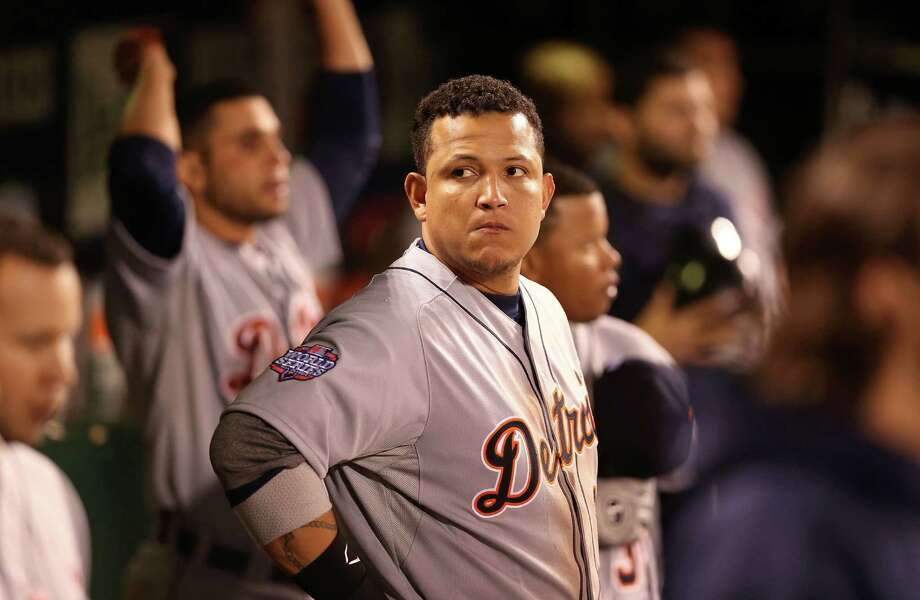 SAN FRANCISCO, CA - OCTOBER 24:  Miguel Cabrera #24 of the Detroit Tigers looks on in the dugout against the San Francisco Giants during Game One of the Major League Baseball World Series at AT&T Park on October 24, 2012 in San Francisco, California. Photo: Christian Petersen, Getty Images / Getty Images North America
