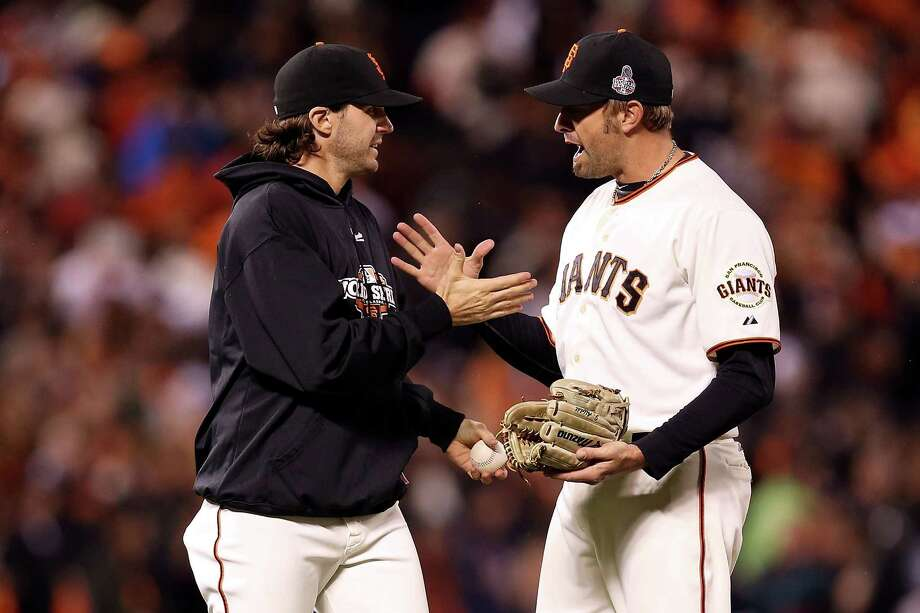 SAN FRANCISCO, CA - OCTOBER 24:  Jeremy Affeldt #41 and Barry Zito #75 of the San Francisco Giants celebrate after defeating the Detroit Tigers in Game One of the Major League Baseball World Series at AT&T Park on October 24, 2012 in San Francisco, California. The Giants defeated the Tigers 8-3. Photo: Christian Petersen, Getty Images / Getty Images North America