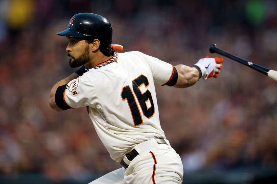 San Francisco Giants' Angel Pagan (16) doubles against the Detroit Tigers during the third inning of Game 1 of baseball's World Series, Wednesday, Oct. 24, 2012, in San Francisco. (AP Photo/The Sacramento Bee, Paul Kitagaki Jr.)  MAGS OUT; LOCAL TV OUT (KCRA3, KXTV10, KOVR13, KUVS19, KMAZ31, KTXL40); MANDATORY CREDIT Photo: Paul Kitagaki Jr., Associated Press / The Sacramento Bee