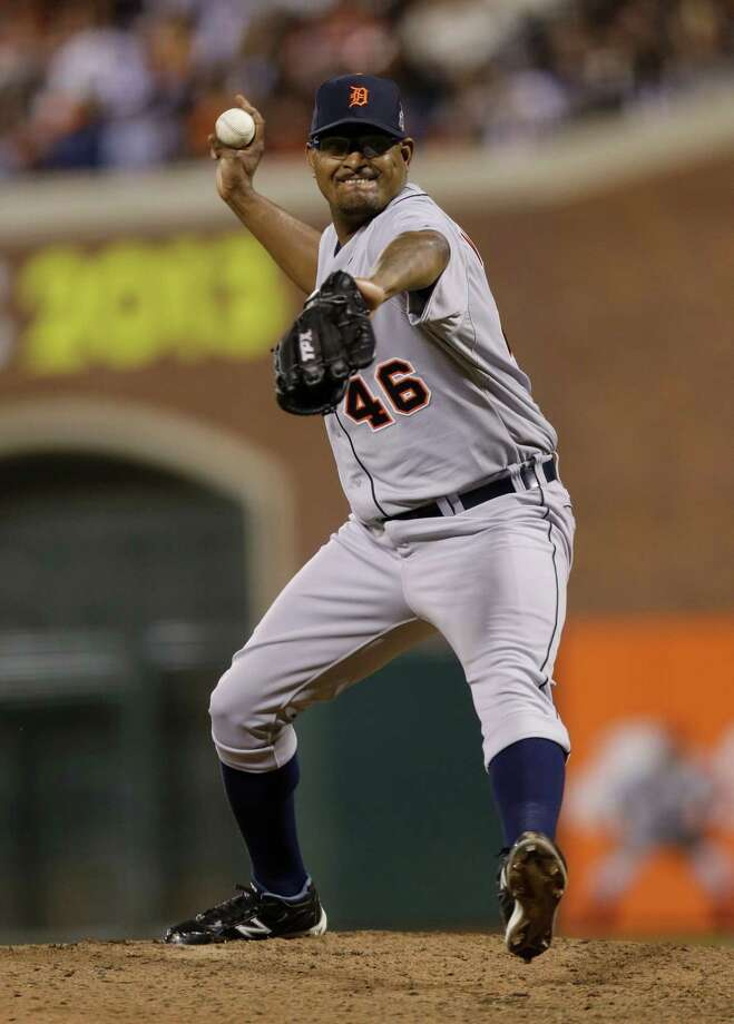 Detroit Tigers' Jose Valverde throws during the seventh inning of Game 1 of baseball's World Series against the San Francisco Giants Wednesday, Oct. 24, 2012, in San Francisco. (AP Photo/Marcio Jose Sanchez) Photo: Marcio Jose Sanchez, Associated Press / AP