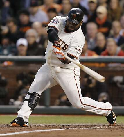 Giants' 3rd baseman Pablo Sandoval hits a 3rd inning 2-run homer during game 1 of the World Series at AT&T Park on Wednesday, Oct. 24, 2012 in San Francisco, Calif. Photo: Michael Macor, The Chronicle