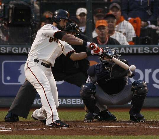 Giants' center fielder Angel Pagan doubles in the 3rd inning during the World Series game 1 at AT&T Park in San Francisco, Calif., on Wednesday, Oct. 24, 2012. Photo: Carlos Avila Gonzalez, The Chronicle