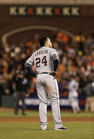 The Tigers' Miquel Cabrera waits to take his position after striking out to end the eighth inning, as the San Francisco Giants went on to beat the Detroit Tigers 8-3 to take Game 1 of the World Series, on Wednesday Oct. 24, 2012 at AT&T Park, in San Francisco, Calif. Photo: Michael Macor, The Chronicle
