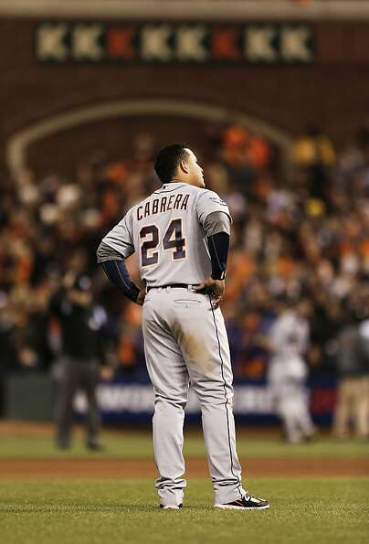 Miguel Cabrera stands in frustration after striking out to end the eighth inning. The Triple Crow