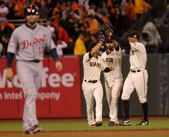 San Francisco Giants outfielders Gregor Blanco, Angel Pagan and Hunter Pence celebrate their 8-3 win over the Detroit Tigers in the first game game of the World Series Wednesday, October 24, 2012 in San Francisco, California. Photo: Lance Iversen, The Chronicle