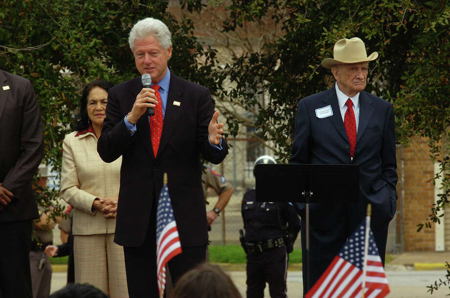 With Jack Brooks at his side, Bill Clinton addresses an audience during a rally in Downtown Beaumont Wednesday. Campaigning for his wife Hillary Clinton, the former president also spoke to Hispanic city leaders in a private meeting prior to the rally. February 20, 2008 Photo by Guiseppe Barranco